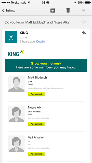 I don't actually use XING, I guess it's still easier to just hit delete than hunt for the unsubscribe link…